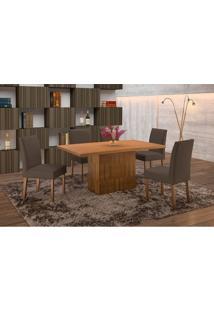 Conjunto De Mesa De Jantar Com 6 Cadeiras E Tampo De Madeira Maciça Arezo Suede Castanho E Grafite
