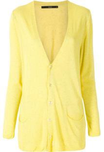 Eva Cardigan Básico Bolso Frente - Amarelo