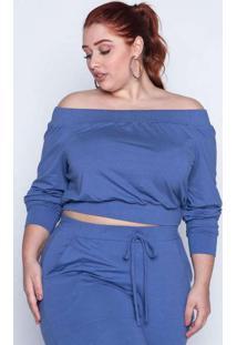 Blusa Almaria Plus Size Kayla Cropped Ombro A Ombr