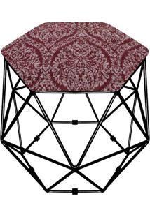 Puff D'Rossi Decorativo Aramado Geométrico Hexágono D95 Base Preta