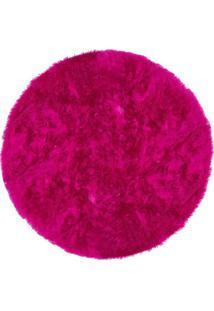 Tapete Saturs Shaggy Pelo Alto Rosa Redondo 110 Cm Tapete Para Sala E Quarto