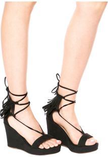 Sandália Dafiti Shoes Plataforma Franjas Preta