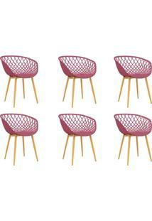 Conjunto Com 6 Cadeiras Clarice Cereja