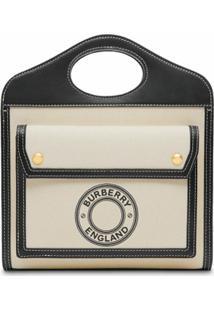 Burberry Bolsa Tote Mini Com Estampa De Logo - Preto