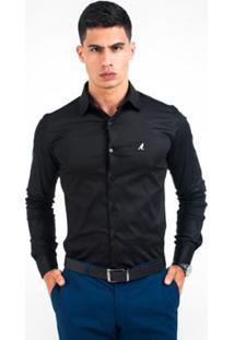 Camisa Social Masculina - Super Slim - Masculino-Preto