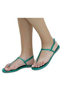 Sandália Rasteira Mercedita Shoes Napa Metalizada Verde Ultra Conforto Anatômica