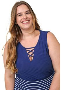 Regata Lunender Mais Mulher Plus Canelada Azul-Marinho