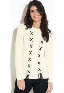 Suéter Em Tricô Off White Quintess Com Trançado