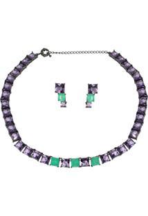 Conjunto Infine Choker E Brincos Verde Turmalina Fusion Premium E Cristal Ametista Violeta - Tricae