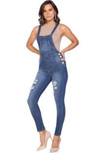 Macacáo Jeans Lúcia Figueredo Skinny Azul - Tricae