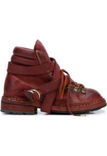 Guidi Ankle Boot Com Cadarço - Vermelho