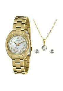 Kit Relógio Feminino Lince Analógico Lrg4679L Kz80B2Kx + Brinco + Colar Dourado