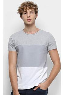 Camiseta Tommy Hilfiger Colour Block Texture Masculina - Masculino-Cinza Claro