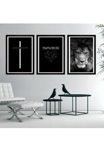 Quadro Moldura Jesus Cristo Leão De Judá Cruz Deus É Bom Abstrato Com Frases Coroa De Espinhos Por Amor Decorativo Interiores - Com Vidro