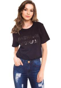 Camiseta Daniela Cristina Com Bordado Fonte Feminina - Feminino-Preto