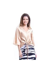 Blusa 101 Resort Wear Cetim Lisa Ouro De Amarrar Com Laço E Botões Dourada