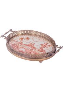 Bandeja Decorativa De Porcelana E Bronze - Imperial