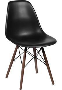 Cadeira Eames Dkr- Preta & Marrom Escuro- 80,5X46,5Xor Design