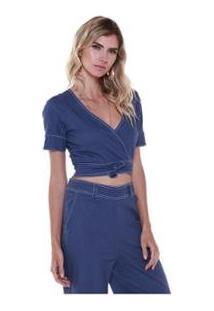 Cropped Studio 21 Fashion Linho Laço - Feminino-Azul