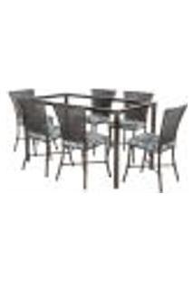 Jogo De Jantar 6 Cadeiras Turquia Tabaco A06 E 1 Mesa Retangular Sem Tampo Ideal Para Área Externa Coberta