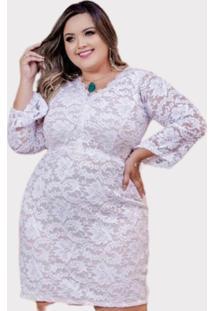 Vestido Plus Size Branco Em Renda - Branco - Feminino - Renda - Dafiti
