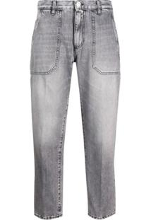 Nine In The Morning Calça Jeans Cropped Com Lavagem Estonada - Cinza