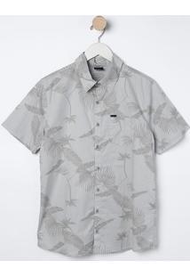 Camisa Com Folhagens- Cinza Claro & Cinza Escuro- Bibiliton