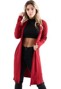 Cardigan Kimono Diluxo Canelado Vermelho - Tricae