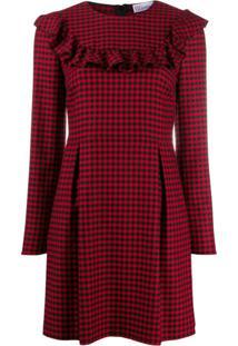 Redvalentino Ruffle-Trim Gingham Dress - Vermelho