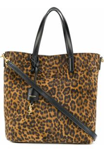 Saint Laurent Bolsa Tote Toy Com Animal Print - Marrom