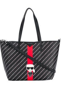 Karl Lagerfeld Bolsa Tote K/Stripe Ikonik - Preto