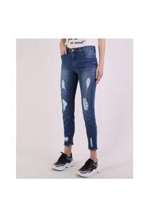 Calça Jeans Feminina Cigarrete Cintura Média Destroyed Azul Escuro