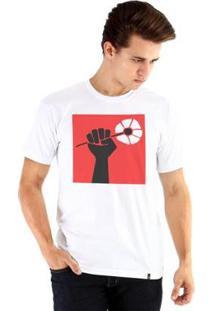 Camiseta Ouroboros Manga Curta Liberdade - Masculino-Branco