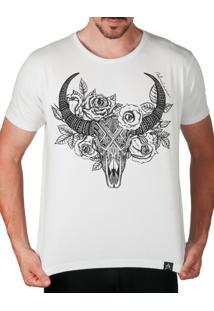 Camiseta Artseries Caveira De Boi Com Flores Dead Ox Branco