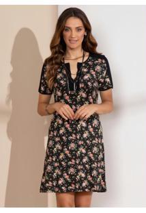 Vestido Clássico Floral Preto Com Recortes
