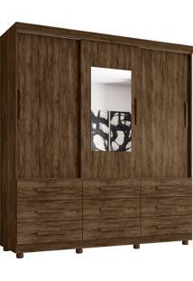 Guarda Roupa Ascoli 3 Portas C/ Espelho 9 Gavetas Jacaranda Moveis Lanza - Tricae