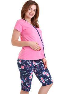 Pijama Capri Adulto Luna Cuore Feminino - Feminino-Rosa