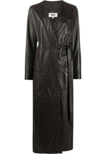Mm6 Maison Margiela Trench Coat Assimétrico De Couro Com Cinto - Marrom