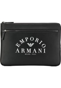 Emporio Armani Logo Print Clutch Bag - Preto
