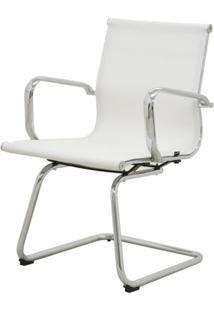 Cadeira Sevilha Eames Fixa Cromada Tela Branca - 38068 - Sun House