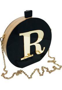 Bolsa Clutch Black Inicial Dourada Personalizada - Kanui