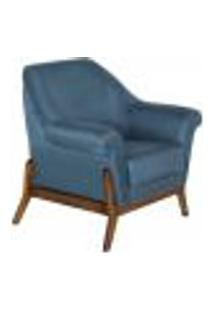 Poltrona Decorativa Sala De Estar Humphrey Linho Azul Base Fixa - Gran Belo