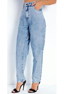 Calça Jeans Claro Mom Jeans Com Bolsos Sawary