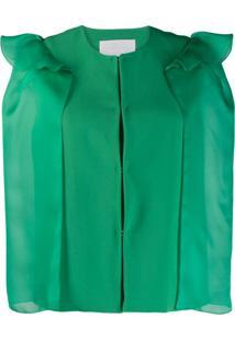 Genny Blazer Cropped Com Babados - Verde