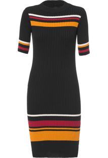 Vestido Mídi Stripes Knit - Preto