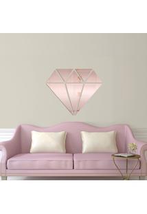 Espelho Decorativo Diamante Rose Gold