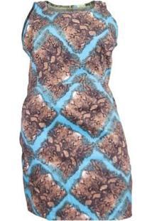 Vestido Regata Plus Size Estampado De Sarja Com Elastano - Feminino-Marrom+Azul