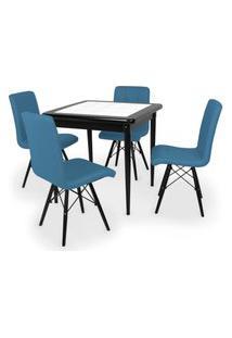 Conjunto Mesa De Jantar Em Madeira Preto Prime Com Azulejo + 4 Cadeiras Gomos - Turquesa