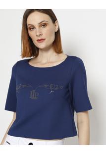 Blusa Cropped Com Strass - Azul Marinho - Lanã§A Perflanã§A Perfume
