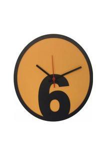 Relógio Parede Sala Madeira Básico 6 Cor Laranja 30X30X2Cm
